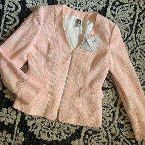 NWT Anne Klein Pink Zipper Up Blazer